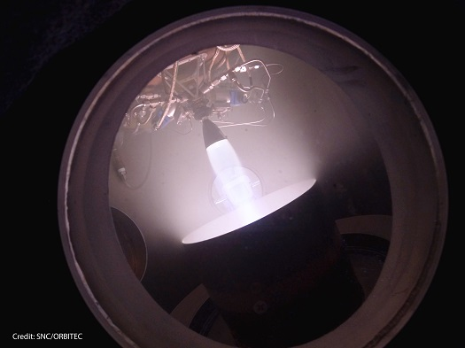 SNC and ORBITEC complete RCS testing in vacuum chamber to simulate orbit environment. (Credit: SNC)