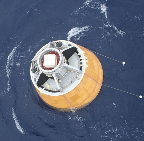 CARE floats on ocean. (Credit: ISRO)