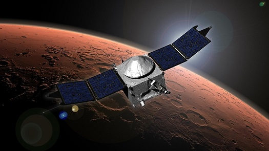 NASA's Mars Atmosphere and Volatile Evolution (MAVEN) spacecraft artist concept. (Credit: NASA's Goddard Space Flight Center)
