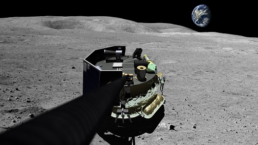 An artist illustration of the Moon Express MX-1 lunar lander on the surface of the moon. (Credit: Moon Express)
