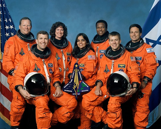 The crew of STS-107. From left to right are mission specialist David Brown, commander Rick Husband, mission specialist Laurel Clark, mission specialist Kalpana Chawla, mission specialist Michael Anderson, pilot William McCool, and Israeli payload specialist Ilan Ramon. (Credit: NASA)