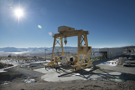 The first qualification motor for NASA's Space Launch System's booster is installed in ATK's test stand in Utah and is ready for a March 11 static-fire test. (Credit:  ATK)