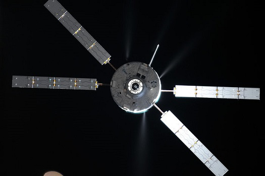 ATV-5 firing its thrusters on Station approach in 2014. (Credit: Roscosmos-O. Artemyev)