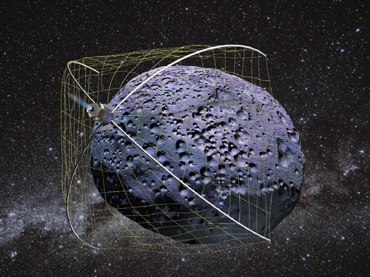 Welcome WRANGLER, a NIAC-funded idea to capture and de-spin asteroids and space debris. (Credit: Robert Hoyt/Tethers Unlimited)