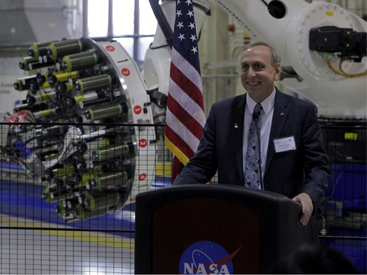 NASA's Steve Jurczyck addresses an audience during a manufacturing event in Hampton, Virginia, last month. (Credit: NASA/Gary Banziger)