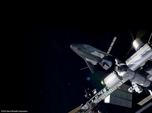Dream Chaser cargo ship docking with International Space Station. (Credit: SNC)