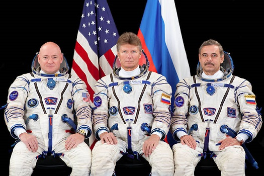 The prime crew members for International Space Station Expedition 43 take a break in training for a crew portrait. From left are Flight Engineers Scott Kelly of NASA, Gennady Padalka and Mikhail Kornienko of Roscosmos. Kelly and Kornienko will be spending an entire year in space on board the ISS. (Credit: Roscosmos/GCTC)