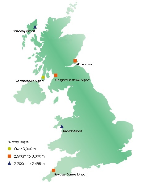 Short list of UK spaceport candidates (Credit: CAA)