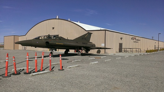 Draken fighter in front of the Stuart O. Witt Event Center. (Credit: Douglas Messier)
