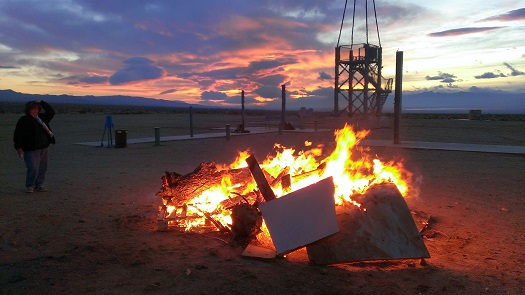 Sunset during FAR's annual Christmas bonfire. (Credit: Douglas Messier)