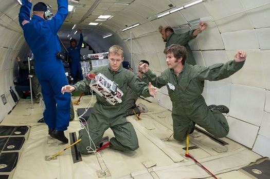A Stanford University technology, Caging System for Drag-free Satellites for use in autonomous precision orbit determination, was flown on Zero-G's parabolic aircraft.(Credits: NASA Photo/Lauren Harnet)