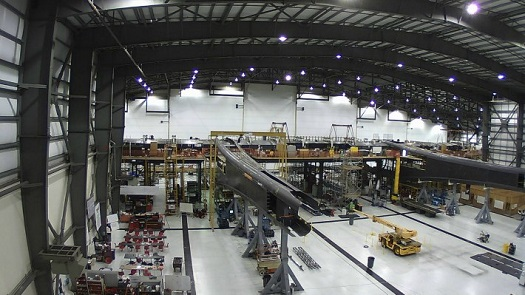 Stratolaunch carrier aircraft under construction in Mojave, Calif. (Credit: Stratolaunch Systems)