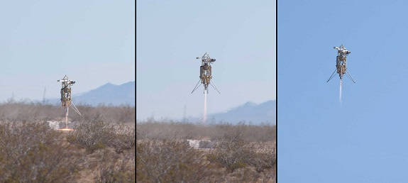 Launch sequence collage of Masten Space Systems' XA-0.1B Xombie suborbital technology demonstration rocket during a NASA-sponsored flight and landing at the Mojave Air and Space Port in Mojave, California. (Credit: NASA Photo/Tom Tschida)