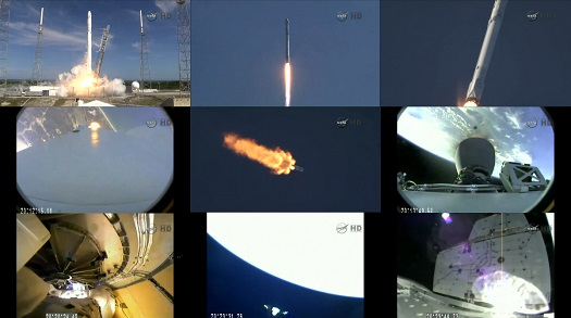 The series of images shows the journey of the SpaceX Falcon 9 rocket and Dragon spacecraft from its launch at 4:10 p.m. EDT Tuesday, April 14 from Space Launch Complex 40 at Cape Canaveral Air Force Station in Florida, to solar array deployment. (Credit:  NASA TV)