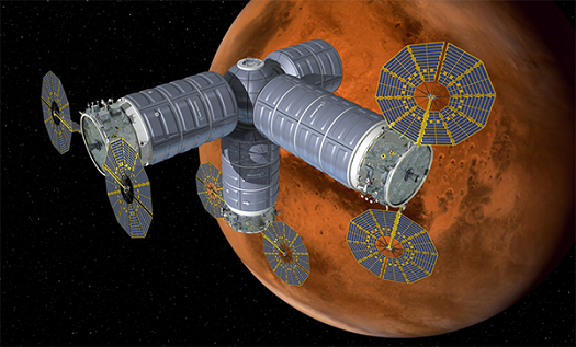 Artist concept of the Cygnus derived deep space habitat and airlock serviced by Cygnus derived logistics vehicles. (Credit: Orbital ATK)