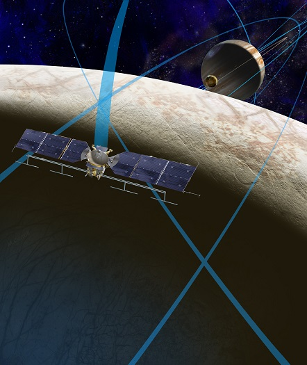 This artist's rendering shows a concept for a future NASA mission to Europa in which a spacecraft would make multiple close flybys of the icy Jovian moon, thought to contain a global subsurface ocean. (Credit: NASA/JPL-Caltech)