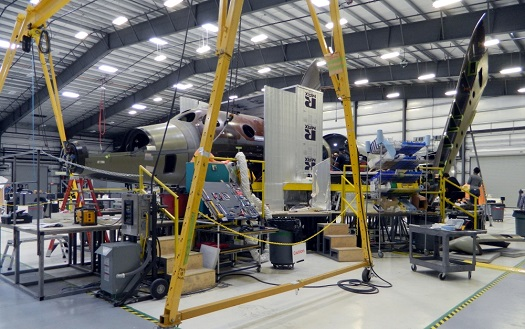 The second SpaceShipTwo under construction. (Credit: Virgin Galactic)