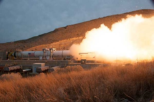 The ground test of Orbital ATK's five-segment rocket motor, known as QM-1, ocurred on March 11, 2015. (Credit: Orbital ATK)