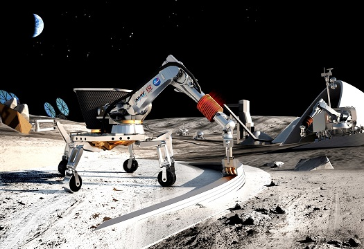This artist's concepts depicts an example of a construction strategy from Contour Crafting and University of Southern California. The approach was selected by the NASA Innovative Advanced Concepts (NIAC) Project. Contour Crafting technology has potential for building safe, reliable and affordable lunar and Martian structures, habitats, laboratories and other facilities. Contour Crafting construction systems are being developed that exploit in-situ resources and can utilize regolith as construction material. (Credit: Contour Crafting and University of Southern California)
