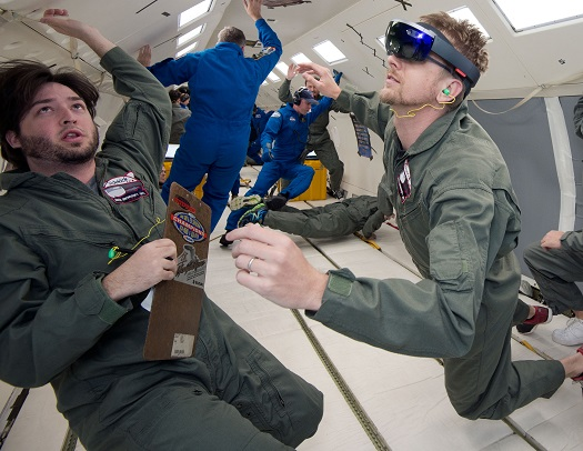 NASA and Microsoft engineers test Project Sidekick on NASA's Weightless Wonder C9 jet. Project Sidekick will use Microsoft HoloLens to provide virtual aid to astronauts working on the International Space Station. (Credit: NASA)