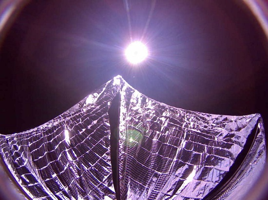 LightSail spacecraft with solar sail deployed. (Credit: The Planetary Society)