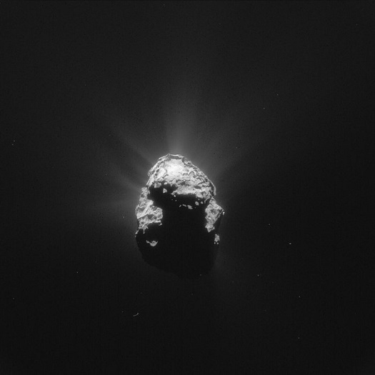 Comet 67P on June 25, 2015 from Rosetta. (Credit: ESA/Rosetta/NAVCAM)