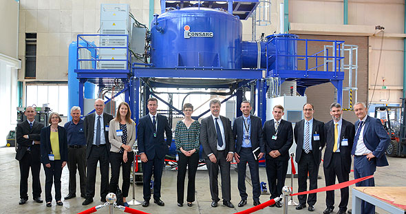 Representatives from the UK Space Agency, Department of BIS and European Space Agency recently visited REL's pre-cooler manufacturing centre in Culham, UK. (Credit: Reaction Engines)