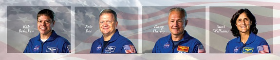NASA has selected experienced astronauts Robert Behnken, Eric Boe, Douglas Hurley and Sunita Williams to work closely with The Boeing Company and SpaceX to develop their crew transportation systems and provide crew transportation services to and from the International Space Station. (Credit: NASA)