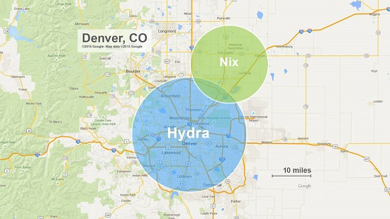 The approximate sizes of Pluto's moons Nix and Hydra compared to Denver, Colorado. While Nix and Hydra are illustrated as circles in this diagram, mission scientists anticipate that future observations by New Horizons will show that they are irregular in shape. (Credits: JHUAPL/Google)