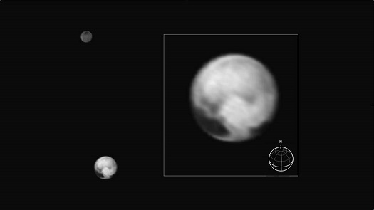 Pluto and its largest moon Charon seen from New Horizons on July 1, 2015. The inset shows Pluto enlarged; features as small as 100 miles (160 kilometers) across are visible. (Credit: NASA/JHUAPL/SWRI)