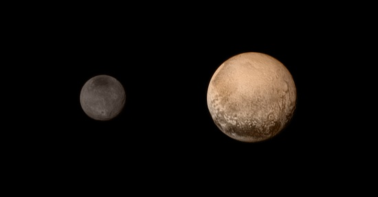 A portrait from the final approach. Pluto and Charon display striking color and brightness contrast in this composite image from July 11, showing high-resolution black-and-white LORRI images colorized with Ralph data collected from the last rotation of Pluto. Color data being returned by the spacecraft now will update these images, bringing color contrast into sharper focus. (Credits: NASA-JHUAPL-SWRI)