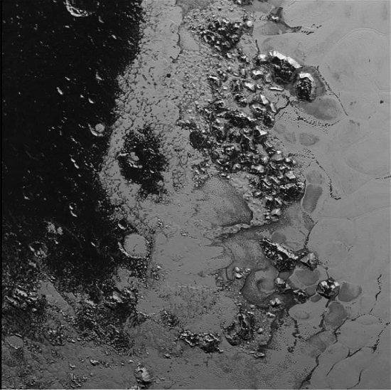 Mountains on Pluto. (Credit: NASA/JHUAPL/SWRI)
