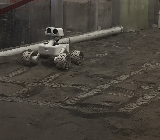 Sagan performing mobility tests in NASA Lunar Regolith Bin. (Credit: ESF)