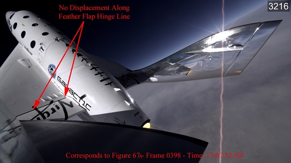 Figure 67b shows premature deployment of the tail boom. (Credit: Virgin Galactic/NTSB)