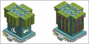 Ntional concept for MISSE, a materials research flight facility on the ISS, built in cooperation with NASA. On the left is the closed sample carrier; on the right shows the sample carrier opened. (Credit: Alpha Space)