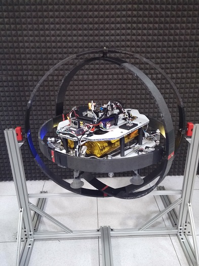 The Asteroid Prospector Flyer prototype in a testing gimbal. (Credits: NASA/Swamp Works)