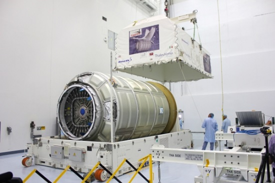 The Cygnus Pressurized Cargo Module for the OA-4 mission arrived at the Kennedy Space Centerfor processing in preparation for the upcoming CRS space station resupply mission to be launched from Florida in early December. (Credit: Orbital ATK)