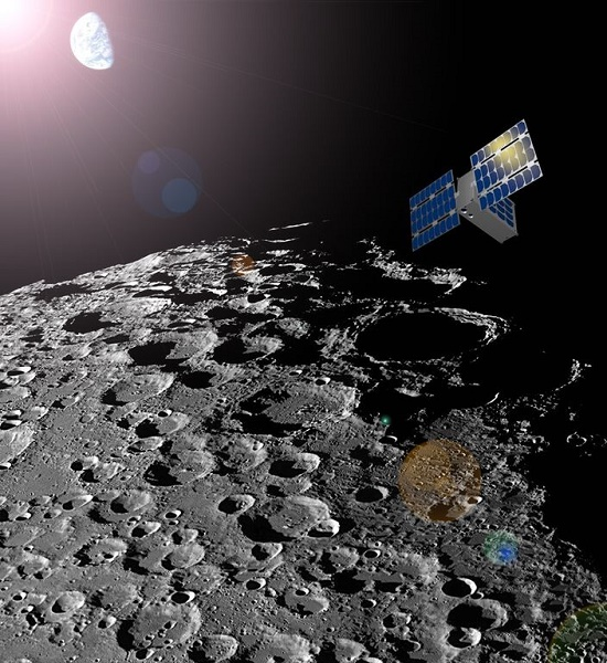 An ASU-built CubeSat about the size of a shoebox will be used to produce a map of the water resources on the moon for future space exploration. It is the first ASU-led interplanetary mission. (Credit: Sean Amidan/ASU/SpaceTREx)