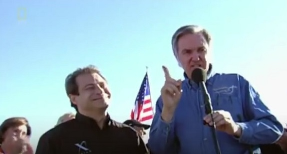 Peter Diamandis and Burt Rutan on stage after SpaceShipOne won the Ansari X Prize on Oct. 4, 2004.