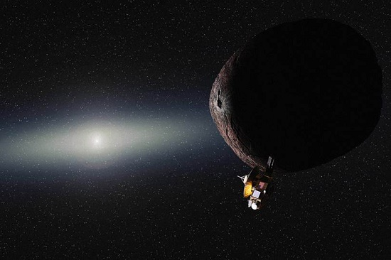 Artist's impression of NASA's New Horizons spacecraft encountering a Pluto-like object in the distant Kuiper Belt. (Credits: NASA/JHUAPL/SwRI/Alex Parker)