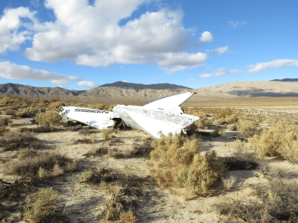 SpaceShipTwo's right boom. (Credit: NTSB)