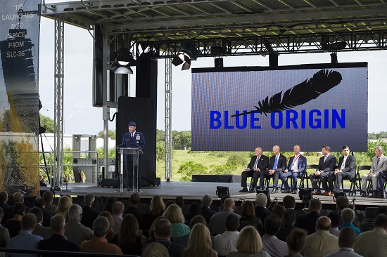 Brig. Gen. Steven Garland, 14th Air Force vice commander, left, provides remarks at a Blue Origin media event held at Space Launch Complex 36 at Cape Canaveral Air Force Station, Florida, Sept 15, 2015. (Credit: USAF/Matthew Jurgens)
