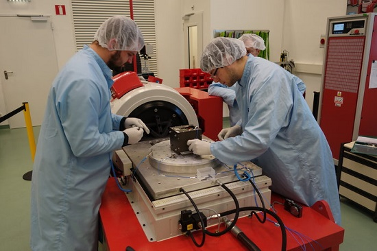 Installation of OUFTI-1 on the electrodynamic shaker at ESTEC (Credit: ESA)
