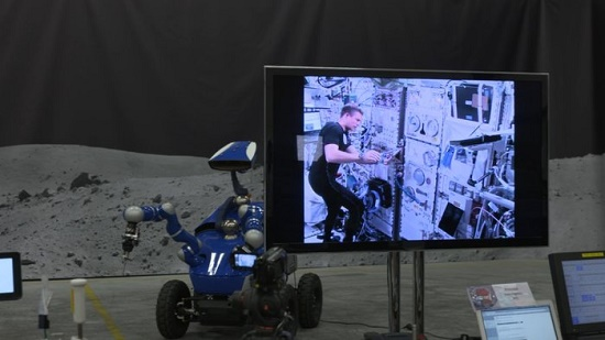 ESA astronaut Andreas Mogensen controls the Interact Rover at ESA's ESTEC technical centre from the International Space Station. (Credit: ESA)