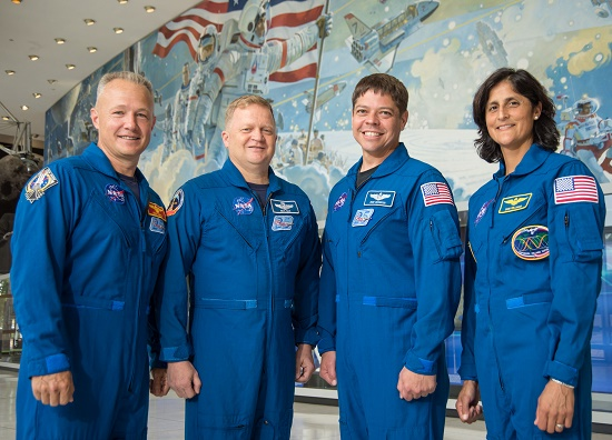 "The astronauts who will train for the first Commercial Crew Program flight tests are Doug Hurley, Eric Boe, Bob Behnken and Sunita ""Suni"" Williams. (Credit: NASA)"
