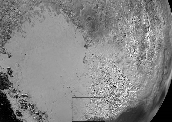 Pluto's 'Heart': Sputnik Planum is the informal name of the smooth, light-bulb shaped region on the left of this composite of several New Horizons images of Pluto. The brilliantly white upland region to the right may be coated by nitrogen ice that has been transported through the atmosphere from the surface of Sputnik Planum, and deposited on these uplands. The box shows the location of the glacier detail images below. (Credits: NASA/JHUAPL/SwRI)