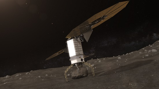 Artists concept of NASA's Asteroid Redirect Robotic Mission capturing an asteroid boulder before redirecting it to an astronaut-accessible orbit around Earth's moon. (Credit: NASA)