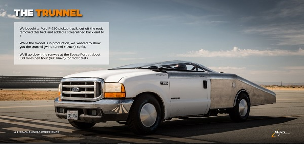 A modified F-250 pickup truck will be used for scale model Lynx testing. (Credit: XCOR)