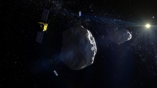ESA's proposed Asteroid Impact Mission to the Didymos binary asteroid system will carry two 'CubeSat Opportunity Payloads (COPINS)' to support the science goals of the main spacecraft plus its lander, as well demonstrate deep space inter-satellite link techniques. (Credit: ESA - ScienceOffice.org)