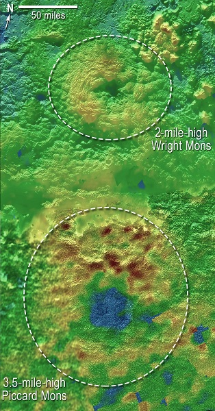 Using New Horizons images of Pluto's surface to make 3-D topographic maps, scientists discovered that two of Pluto's mountains, informally named Wright Mons and Piccard Mons, could be ice volcanoes. The color depicts changes in elevation, blue indicating lower terrain and brown showing higher elevation. Green terrains are at intermediate heights. )Credits: NASA/JHUAPL/SwRI